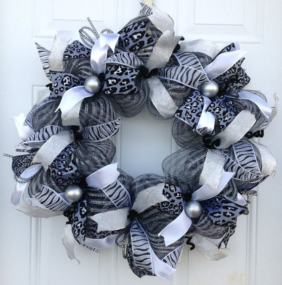 Silver Wreath Deco Mesh Wreath Black Silver White Ribbon Wreath Leopard Print Wreath Zebra Print Wre Deco Mesh Wreaths Diy Zebra Wreath Mesh Wreath Diy