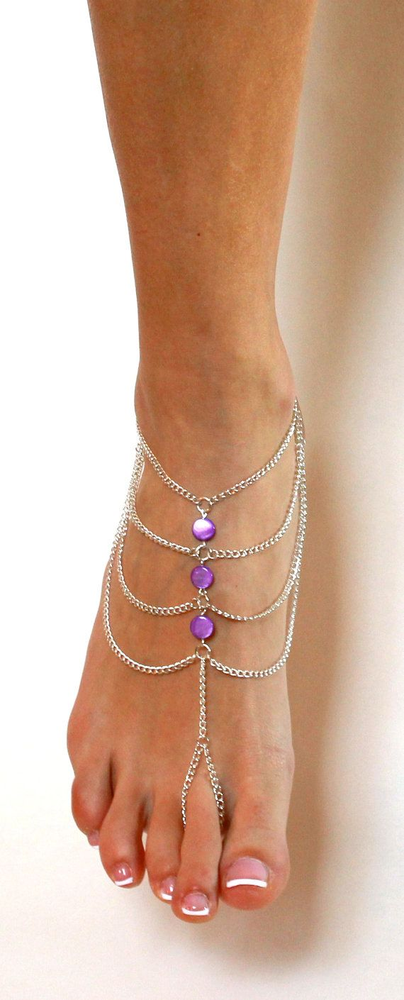 Purple Boho Beach Barefoot Sandals Beach Anklet by BareSandals