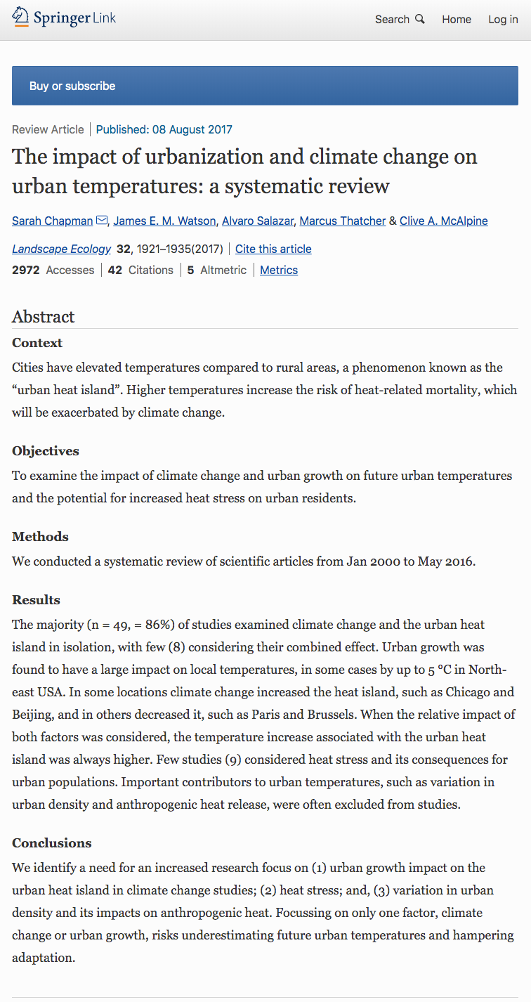 Chapman Sarah Et Al The Impact Of Urbanization And Climate Change On Urban Temperatures A Systematic Review Land Climate Change Urban Heat Island Climates