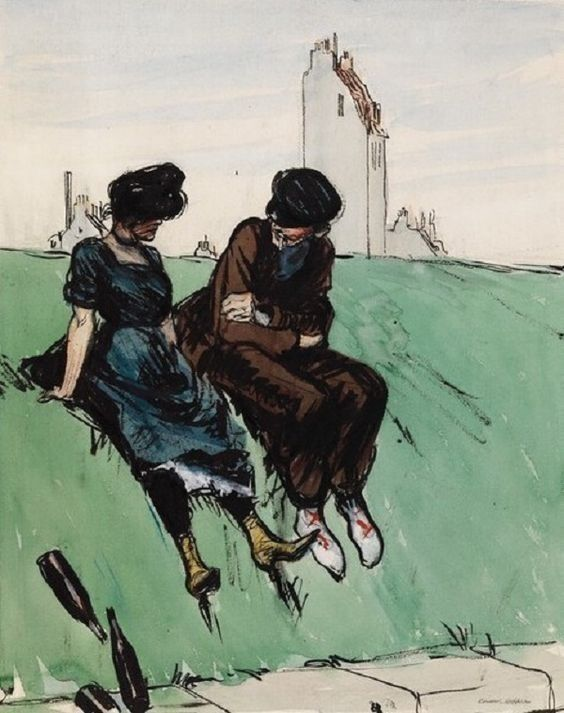 Edward Hopper French Couple On Embarkment After Albert Guillaume