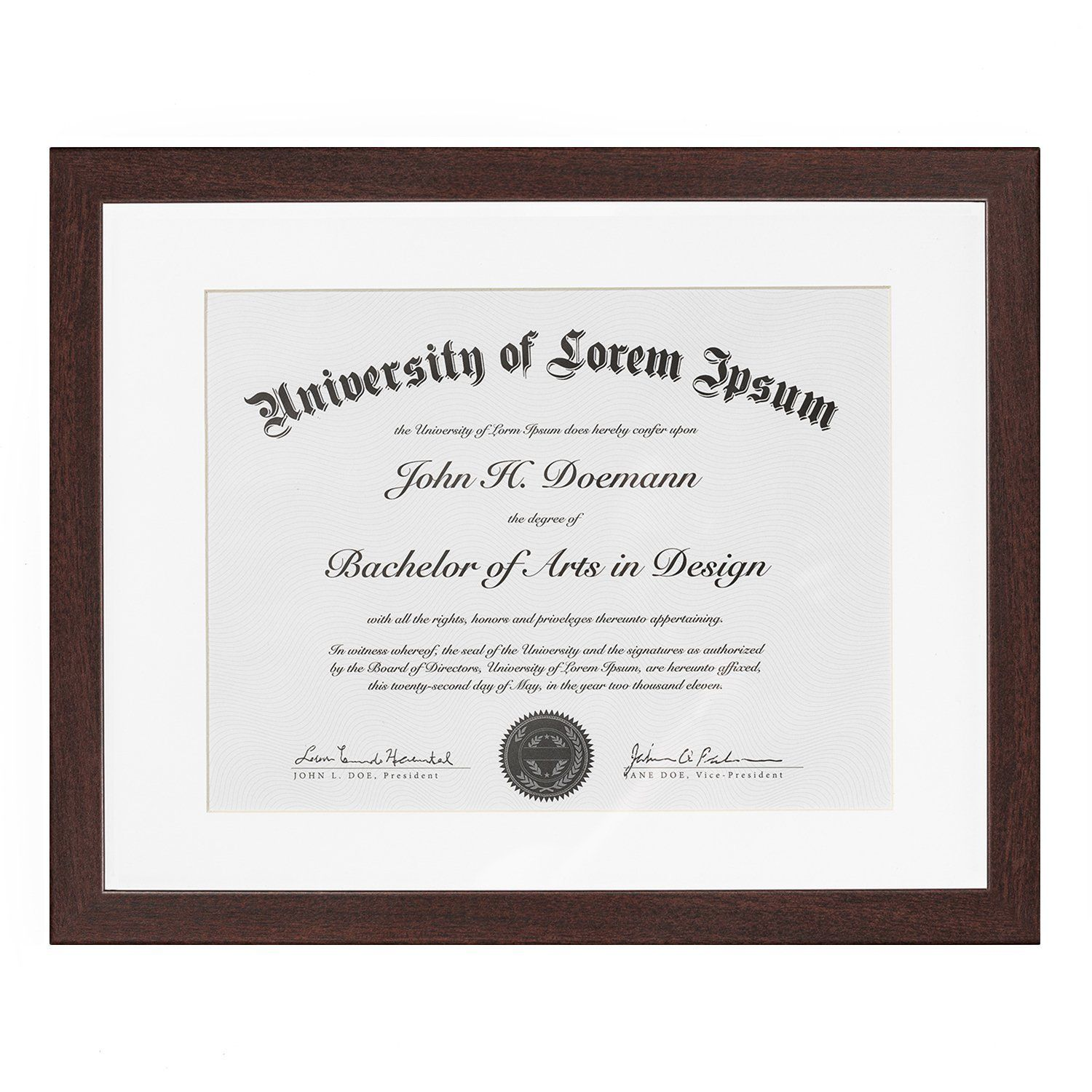 Mahogany Document Frame Made To Display Documents Sized 8 5 X 11 Inch With Mat And 11 X 14 Inch Without Mat Document Frame Certi Document Frame Diploma Frame Frame Display