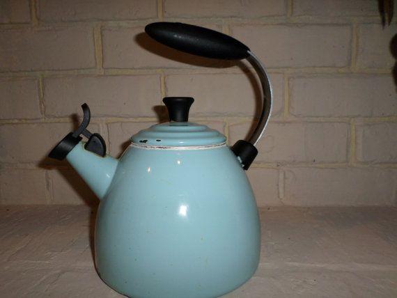 Vintage Le Creuset Aqua Light Blue Enamelware By Innovativevintage 42 00 Aqua Kitchen Tea Kettle Enamelware