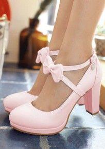 Rosa Runde Zehe Klobig Schleife mit Bändchen Riemchen Süße High Heels Schuhe Damen #highsandals