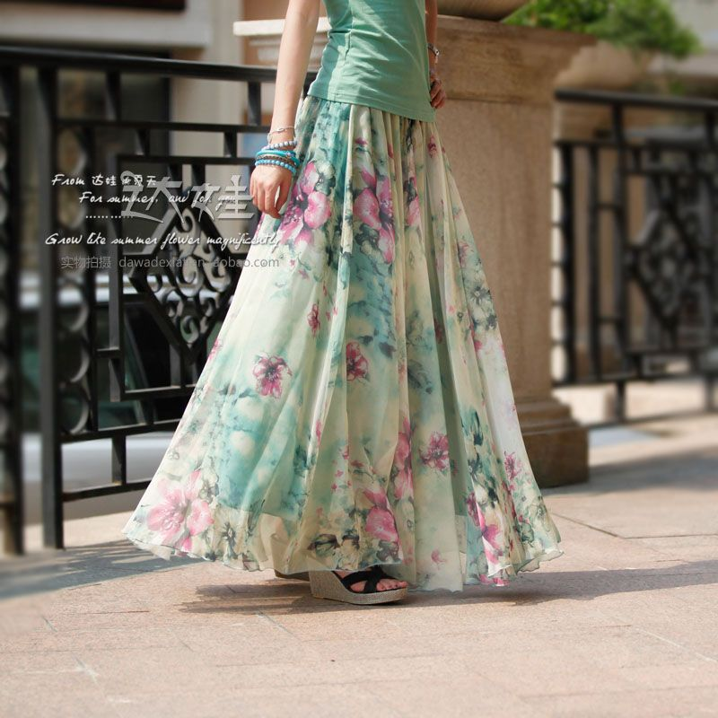 Floral Long Chiffon skirt Maxi Skirt Ladies Silk Chiffon Dress ...