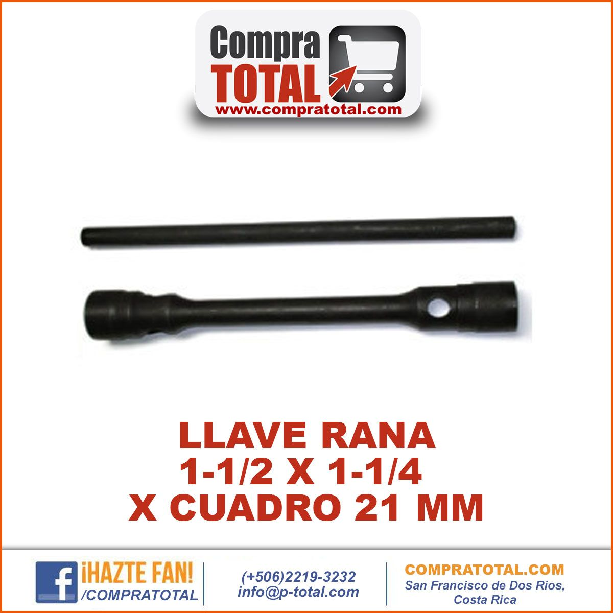 #CompraTotal - #HerramientaManualCostaRica LLAVE RANA 1-1/2 X 1-1/4 X CUADRO 21 MM