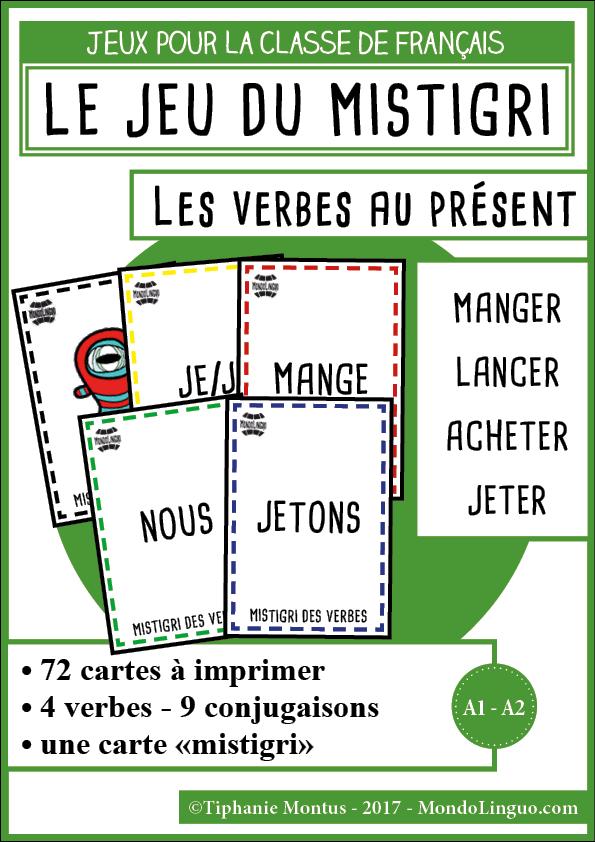 Mistigri Des Verbes Manger Lancer Acheter Jeter Mondolinguo Francais Jeux De Grammaire Verbe Conjugaison Cm2