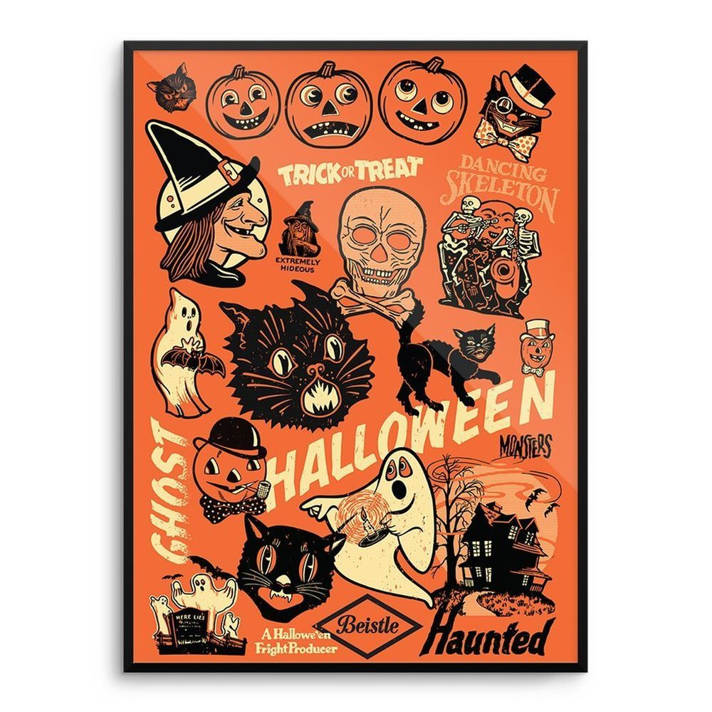 Vintage halloween paper decorations - Beistle Vintage 50 S 60 S Halloween Decoration Poster Print Witch Mondo Rare