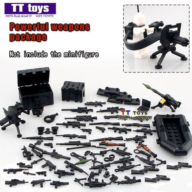 Military series swat police gun weapons pack brick arms building toys for kids