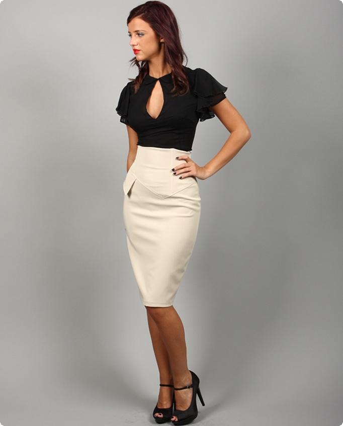 White Pencil Skirt Black Blouse Sheer Pantyhose and Black ...