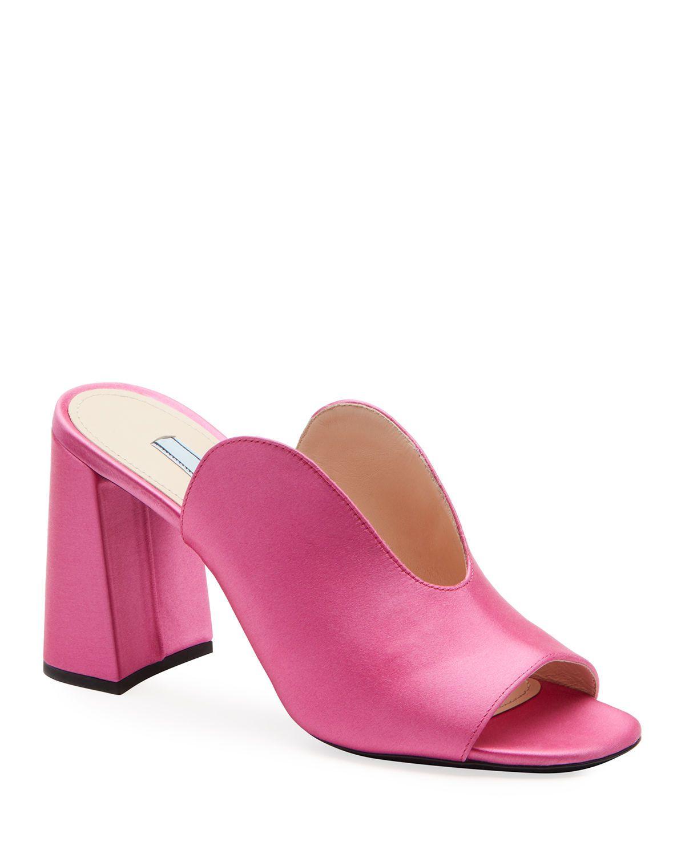 Satin Deep U Slide Mules In Pink Mules Leather High Heels Heeled Mules Sandals