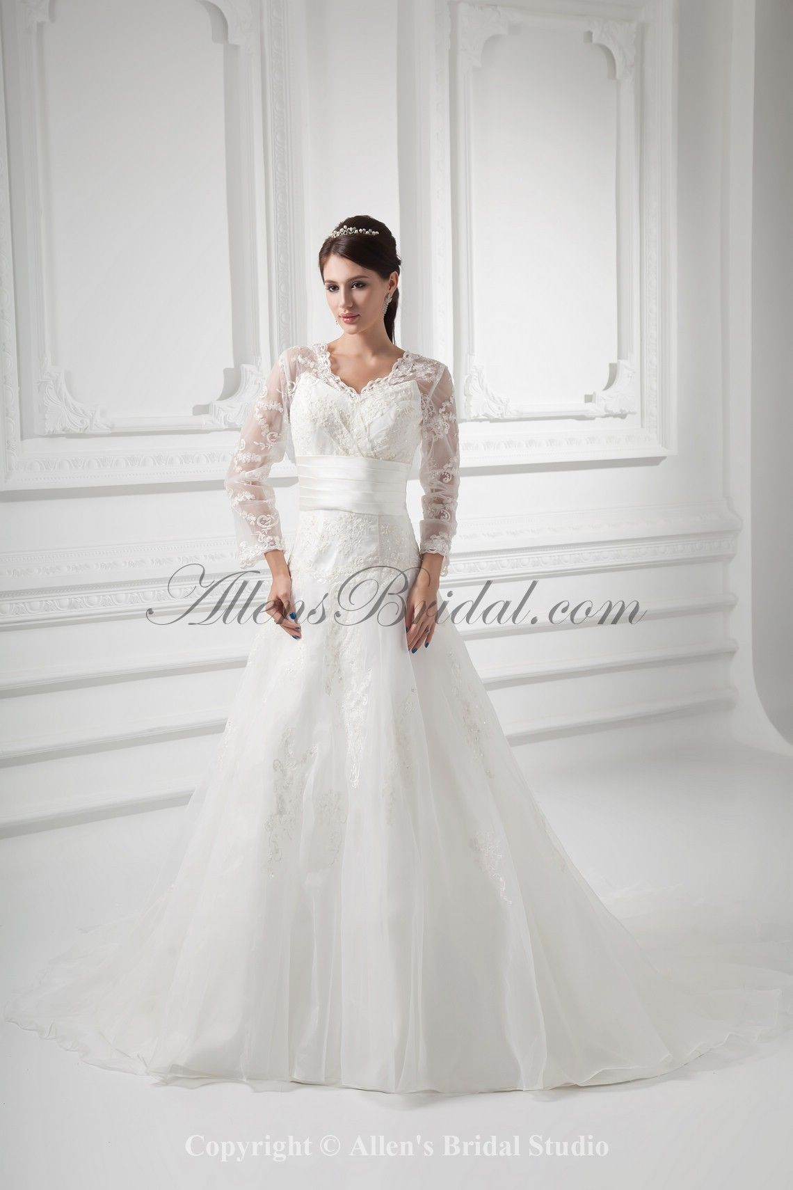 0ead40be14 Organza V-Neckline A-line Sweep Train Embroidered and Three-quarter Sleeves Wedding  Dress with Jacket