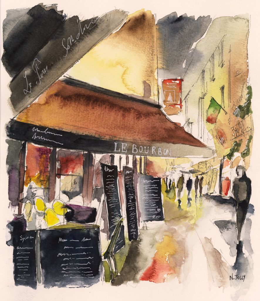 Colorful Night Watercolor Painting Aquarelle By Nicolas Jolly