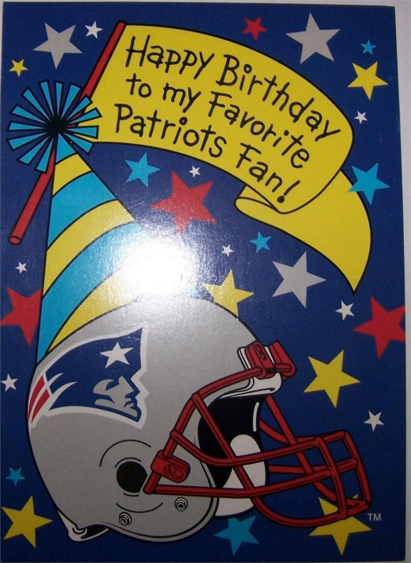 New England Patriots Happy Birthday Card Greeting Card With