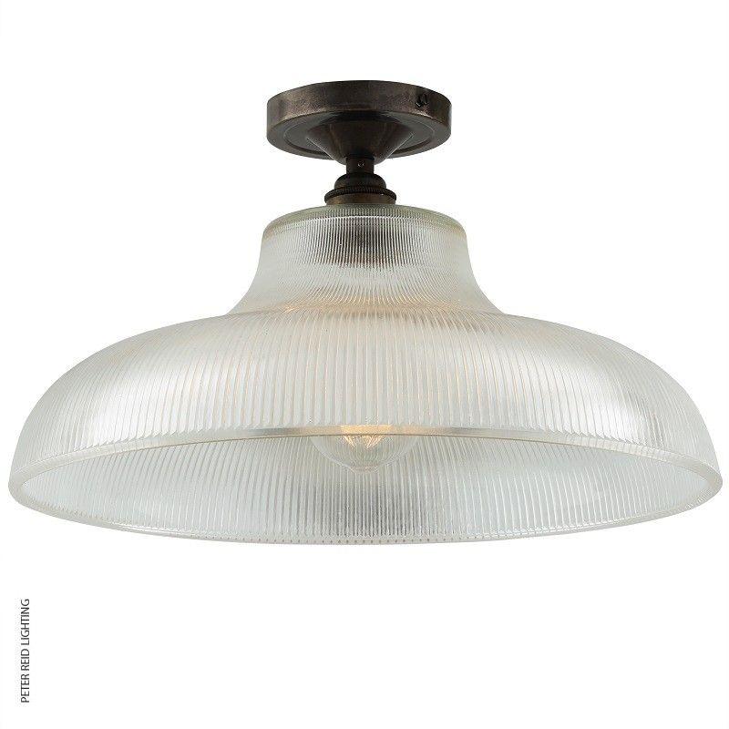Mono industrial 38cm railway semi flush ceiling light
