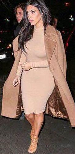 ecfcc71796b Beige Long Sleeve Mock Neck Bodycon Midi Dress - Inspired by Kim Kardashian
