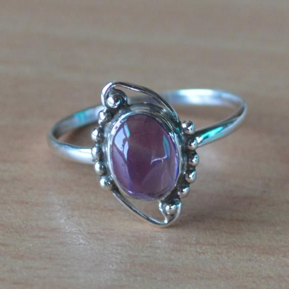 Amethyst Purple Stone Silver Ring India 925 Sterling Silver Handsome Genuine Purple Ring