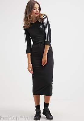 ea7a66db02 Adidas Originals Black 3-Stripes Midi Bodycon Figure Fit Maxi Dress XS S M L