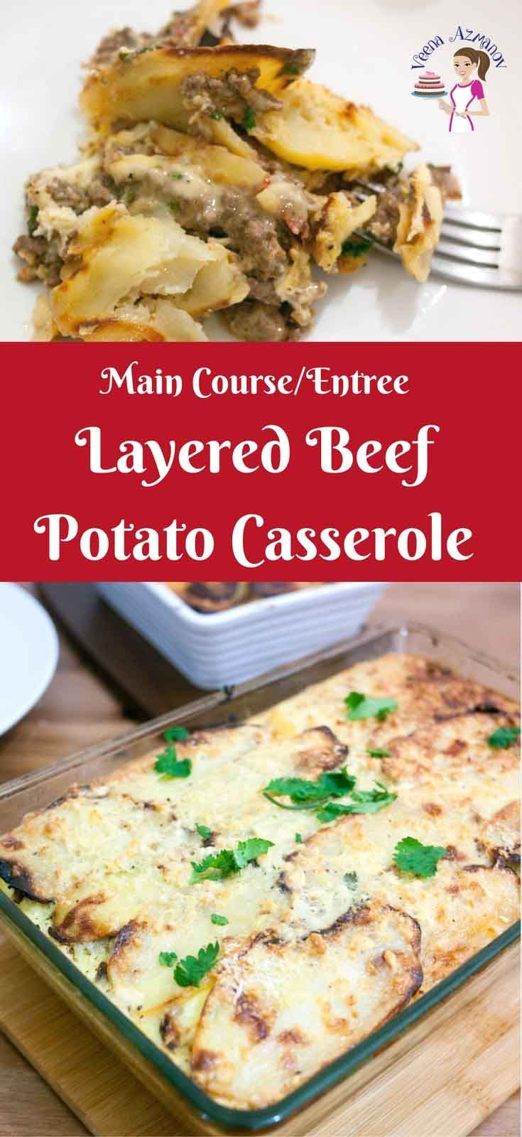 A delicious and pretty meat casserole is perfect for entertaining. The Layered beef potato casserole is a simple and easy make a head dish that can be baked just before your guest arrive or baked just before dinner on busy weeknights. #beef #potato #casserole #middleeastern #cuisine #makeahead #baked #dinner #lunch #entertaining #recipes via @Veenaazmanov