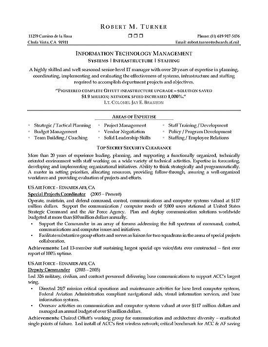 Infrastructure Manager Resume Example Resume examples - examples of professional summaries