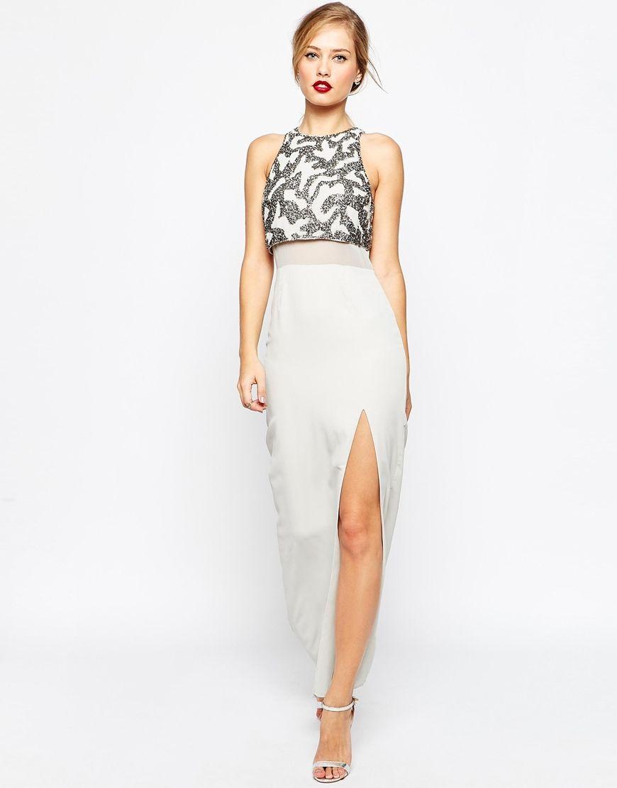 ASOS Column Maxi Dress With Embellished Crop Top  8958b8ec56