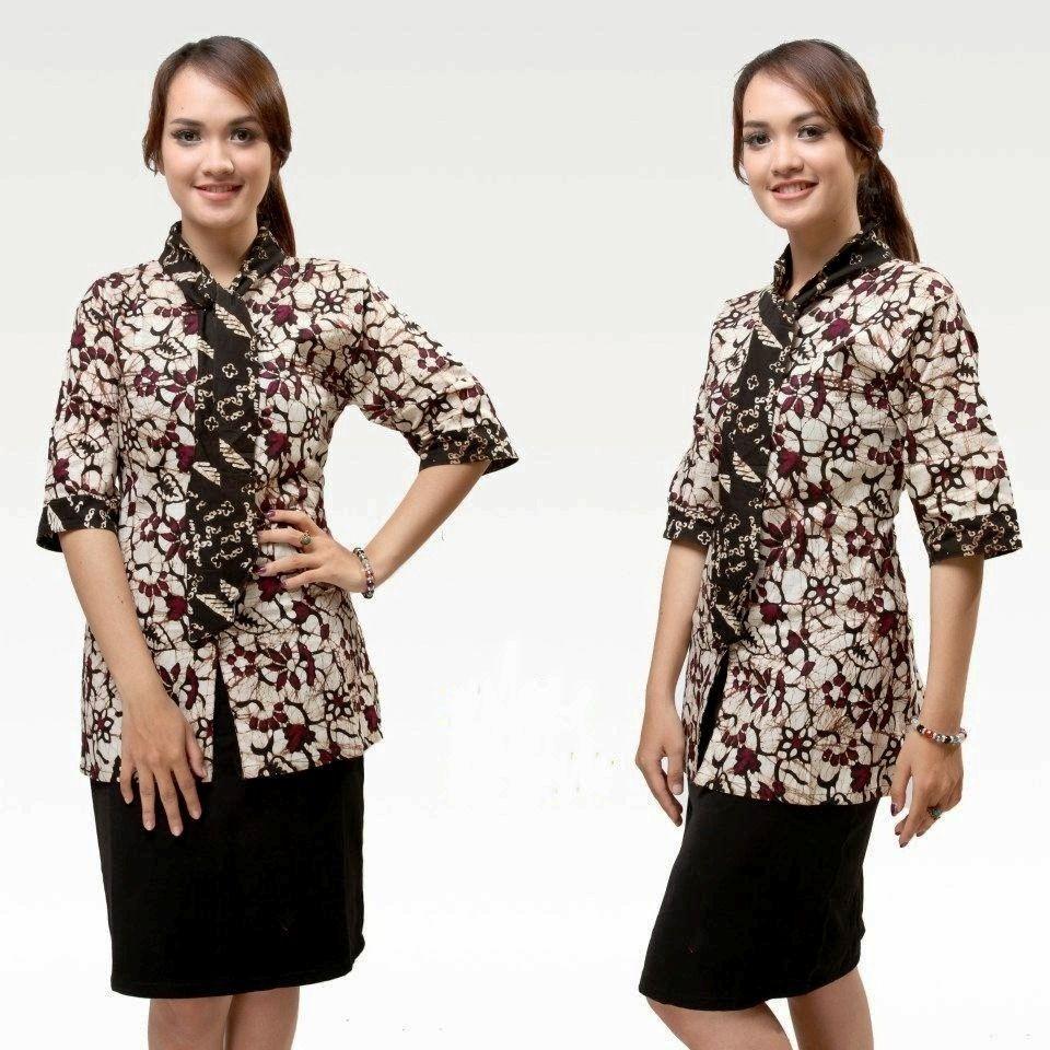 Model Baju Batik Seragam Guru Lengen Pendek Untuk Wanita Warna Putih