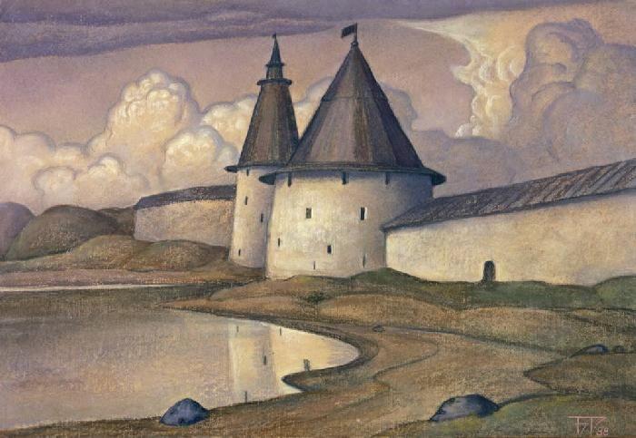 The towers have grilles. Pskov by Boris Smirnov Rusetsky