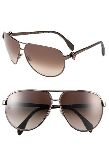 Alexander McQueen Skull Temple Metal Aviator Sunglasses (Online Exclusive) available at Nordstrom