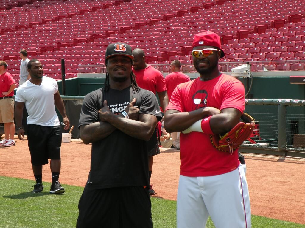 Pacman Jones and Brandon Phillips during the @Andrew Senft Bengals visit to GABP today.
