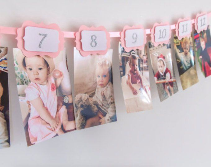 FIRST BIRTHDAY Girl Decorations. 12 Month Photo Wall Banner.1st Birthday Girl. Monthly Photo Banner. Birthday Garland. Pink & Gold Glitter #birthdaymonth