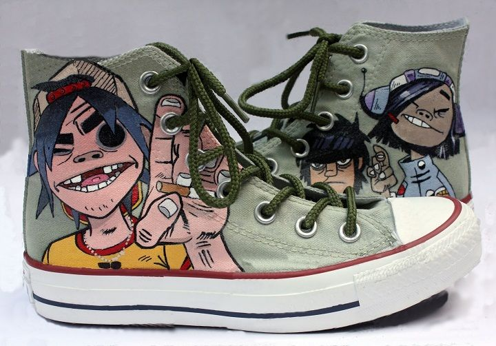 2be56a20d5585 Gorillaz Shoes in 2019 | To Do Later | Custom converse shoes, Custom ...