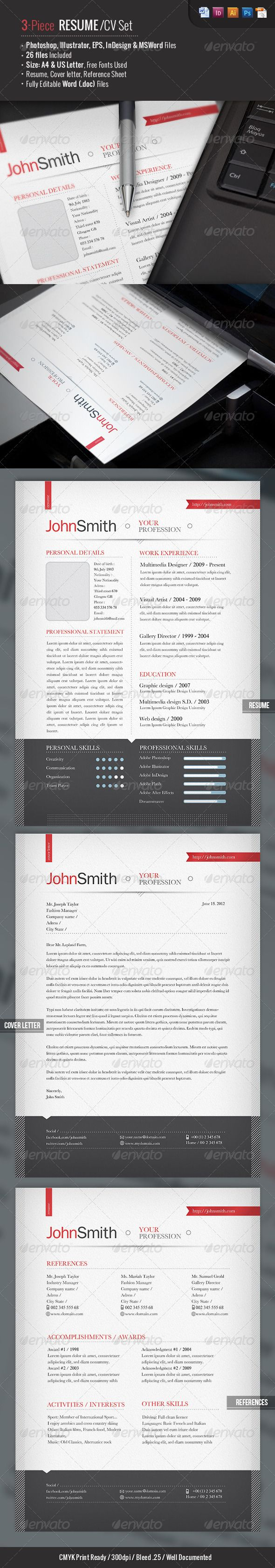 Ready Piece ResumeCv Set  Resume Cv Template And Cv Template