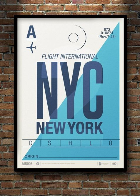 "NYC - Flight Tag Print | Designer: Neil Stevens | $46 USD for 11x16 print | $70 USD for a 19x27"" print #art #poster #travel #"