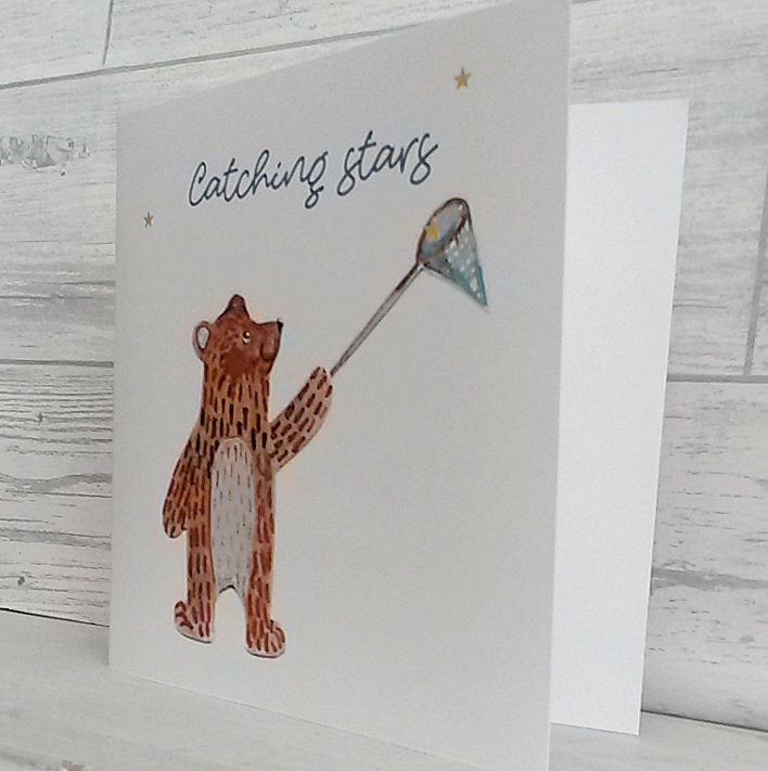 Greetings card featuring a sweet bear catching stars150mm x150 greetings card featuring a sweet bear catching stars150mm x150 mmlaser printed onto 300 gsm white silk cellophane wrapwatercolour m4hsunfo