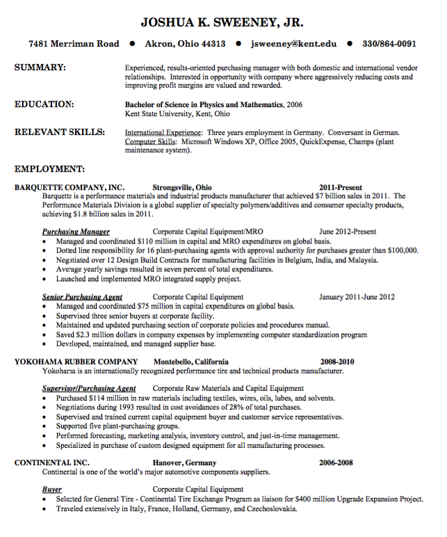Materials Manager Resume Resume Example For Purchasing Manager  Httpresumesdesign .