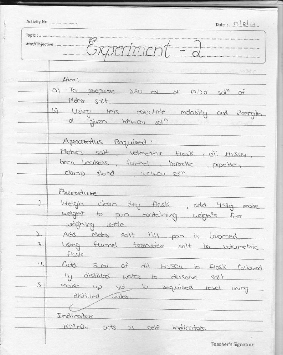 Chemistry Practical File | Bhagat singh | Chemistry