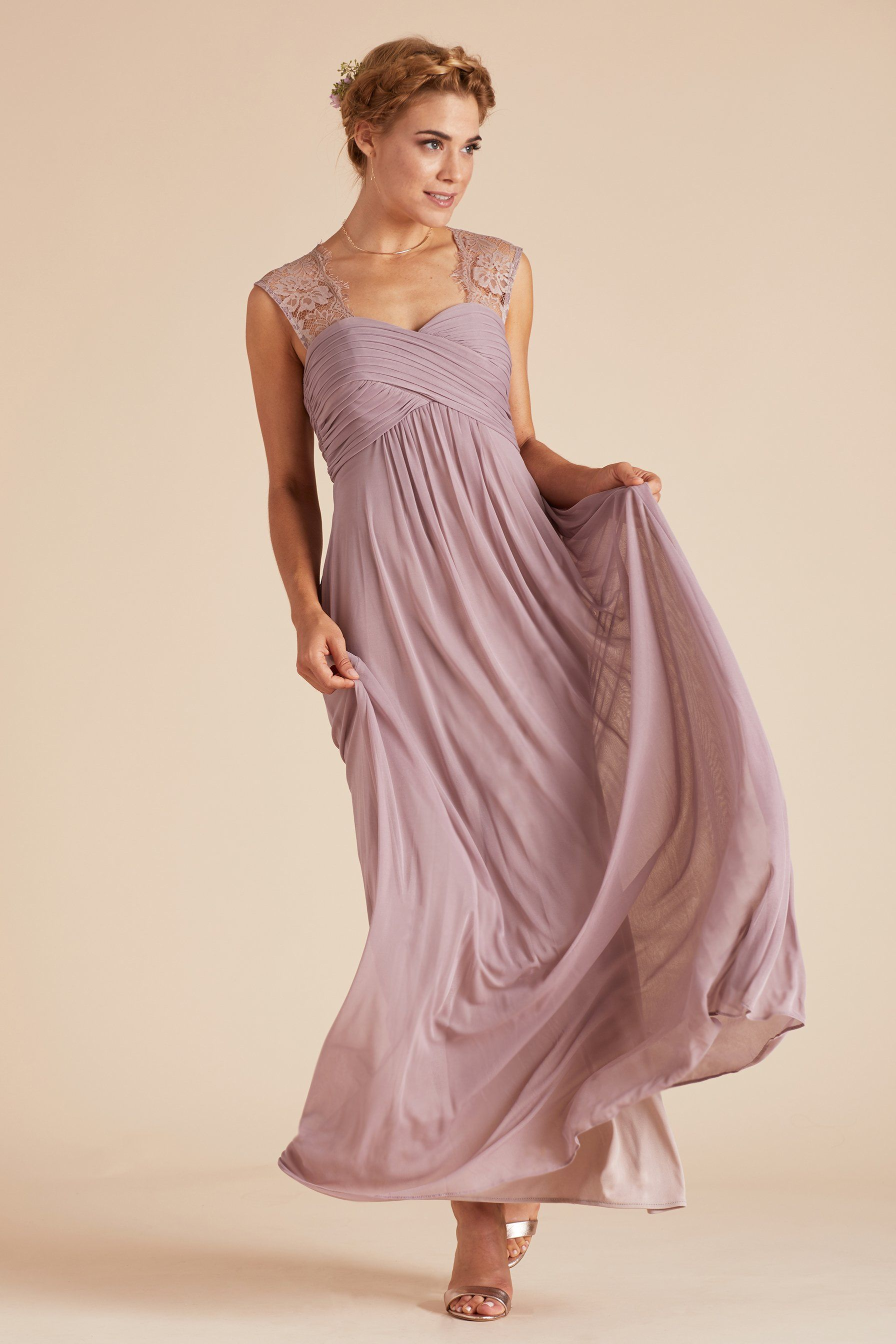 620dbacef3a Mary bridesmaid dress by Birdy Grey in Mauve. Vintage style lace empire  waist gown under  100.