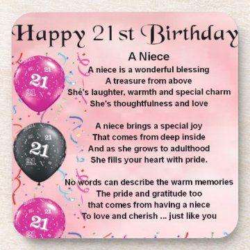 Niece Poem 21st Birthday Drink Coaster Zazzle Com In 2021 Happy 21st Birthday 21st Birthday Wishes Happy 21st Birthday Wishes