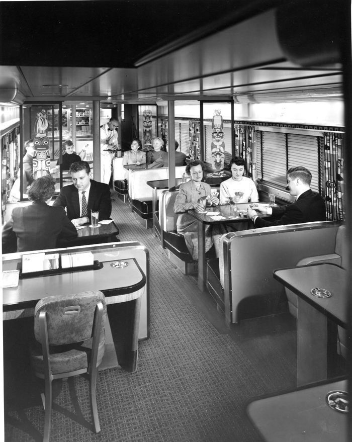 A 1955 publicity photograph of a two-level dome car for the