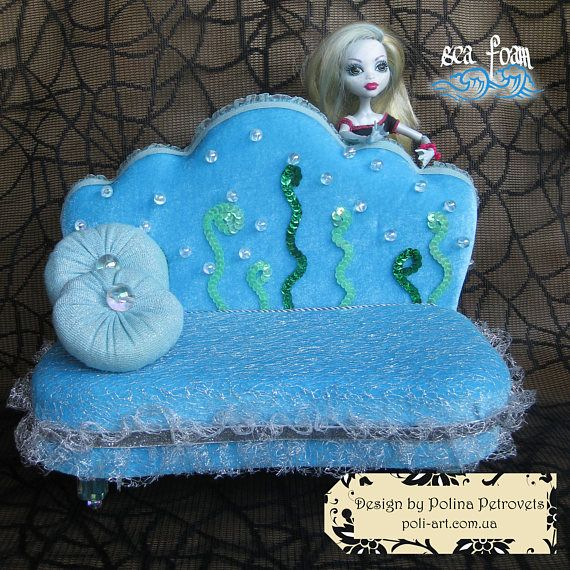 Doll Bed Dollhouse Furniture for Monster High Doll furniture Handmade Lounge Bed blue sofa couch divan settee Lagoona Blue 2 round Pillows