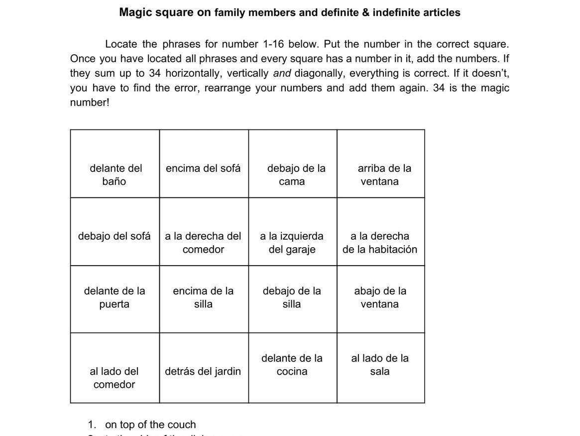 Stem Changing Verbs Worksheet Answers Magic Square On Stem Changing Verbs Spanish No Prep Practice In 2020 Verb Worksheets Worksheets Verb