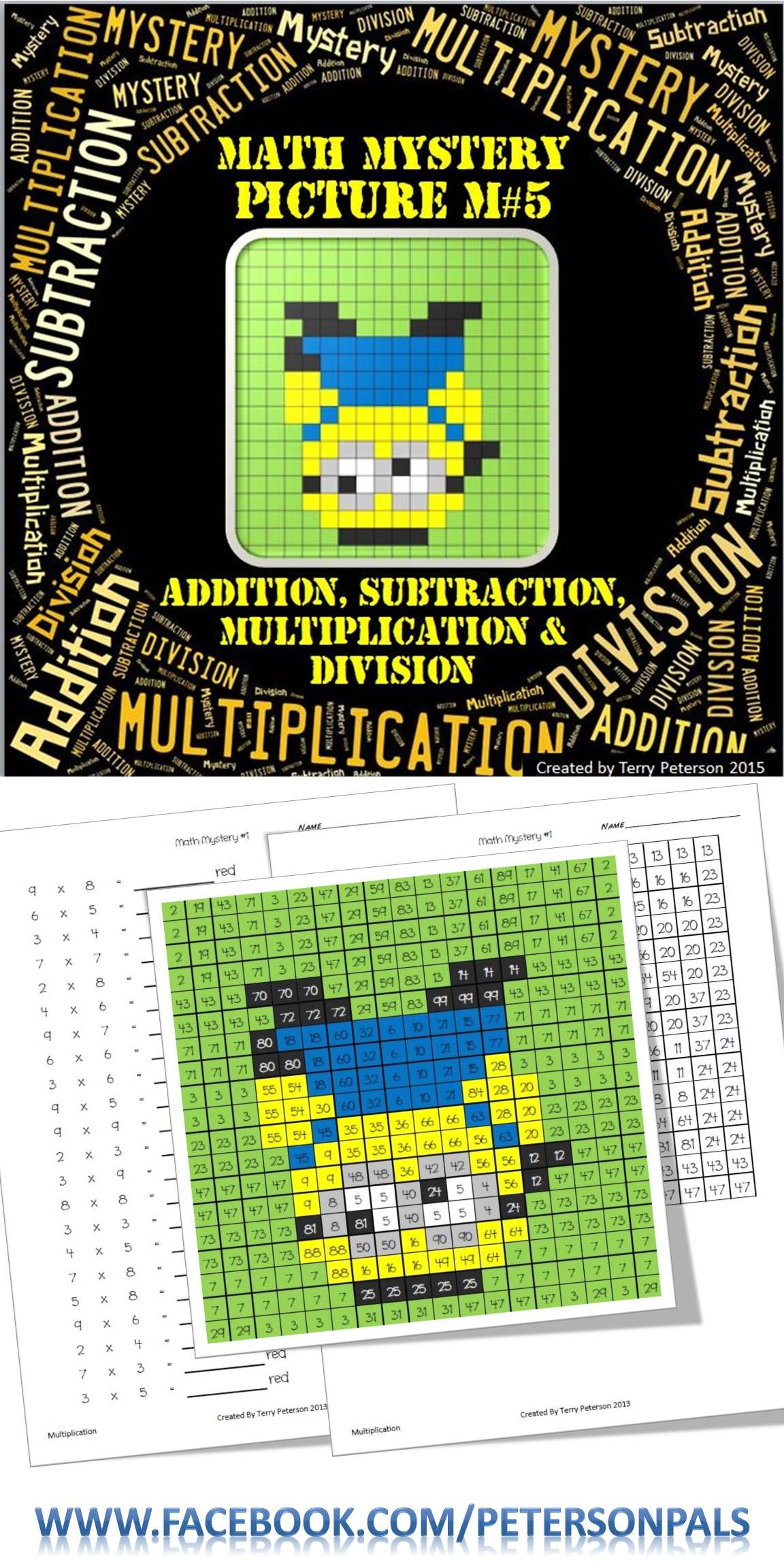 Math Mystery Picture M#5 Addition Subtraction Multiplication ...