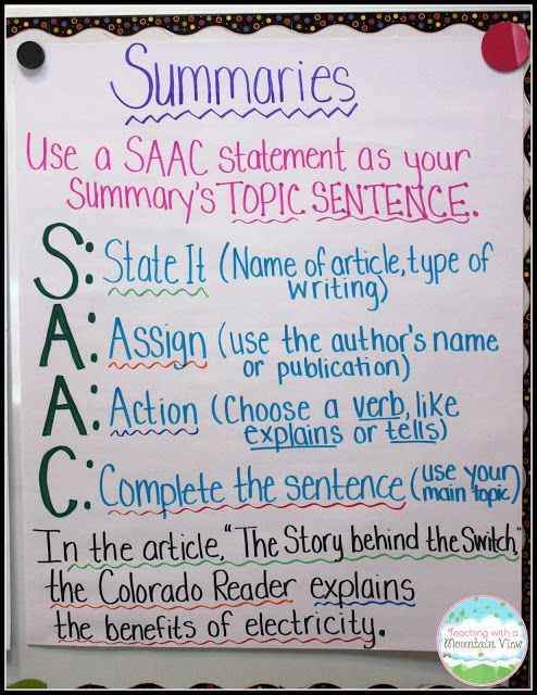 Writing Summaries Summary anchor chart, Summary writing and - how to write a summary analysis and response