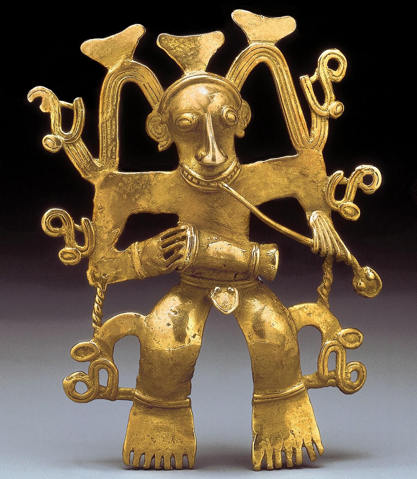 Shaman with Drum and Snake; Costa Rica. c. 13-16th century CE. Gold. In the Diquis mythology, figures like the one shown display the importance of animals in the culture. Pin by GT