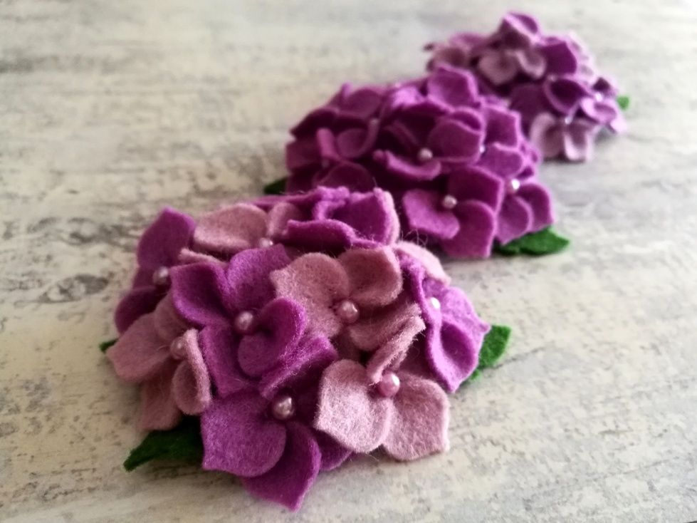 Lilac Flower Brooch Purple Hydrangea Brooch Feltragem Artesanato Artesanato Em Feltro