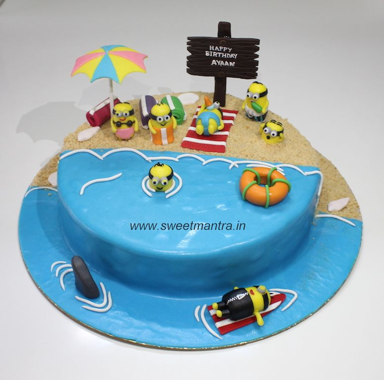 Marvelous Handcrafted Minions On Beach Theme Personalized Designer Fondant Funny Birthday Cards Online Elaedamsfinfo