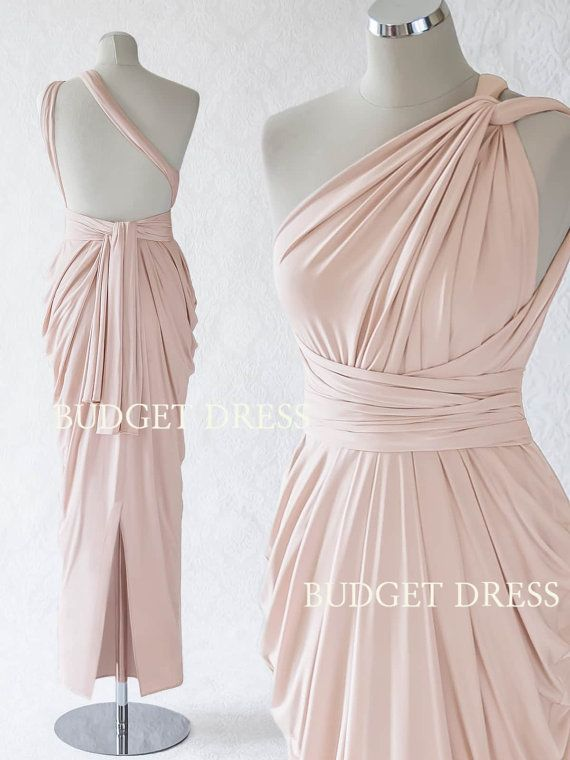Nude Blush Multiform Bridesmaids Dress, Infinity Greek Prom Dresses, Engagement Party Dresses, Mix And Match Gowns, Reception Summer Dress