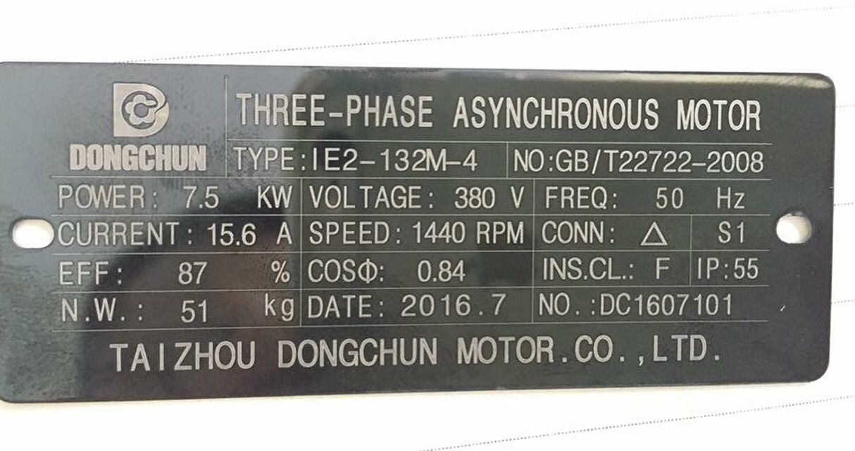 Nameplate for three phase electric motor, Contact us Email: sales ...