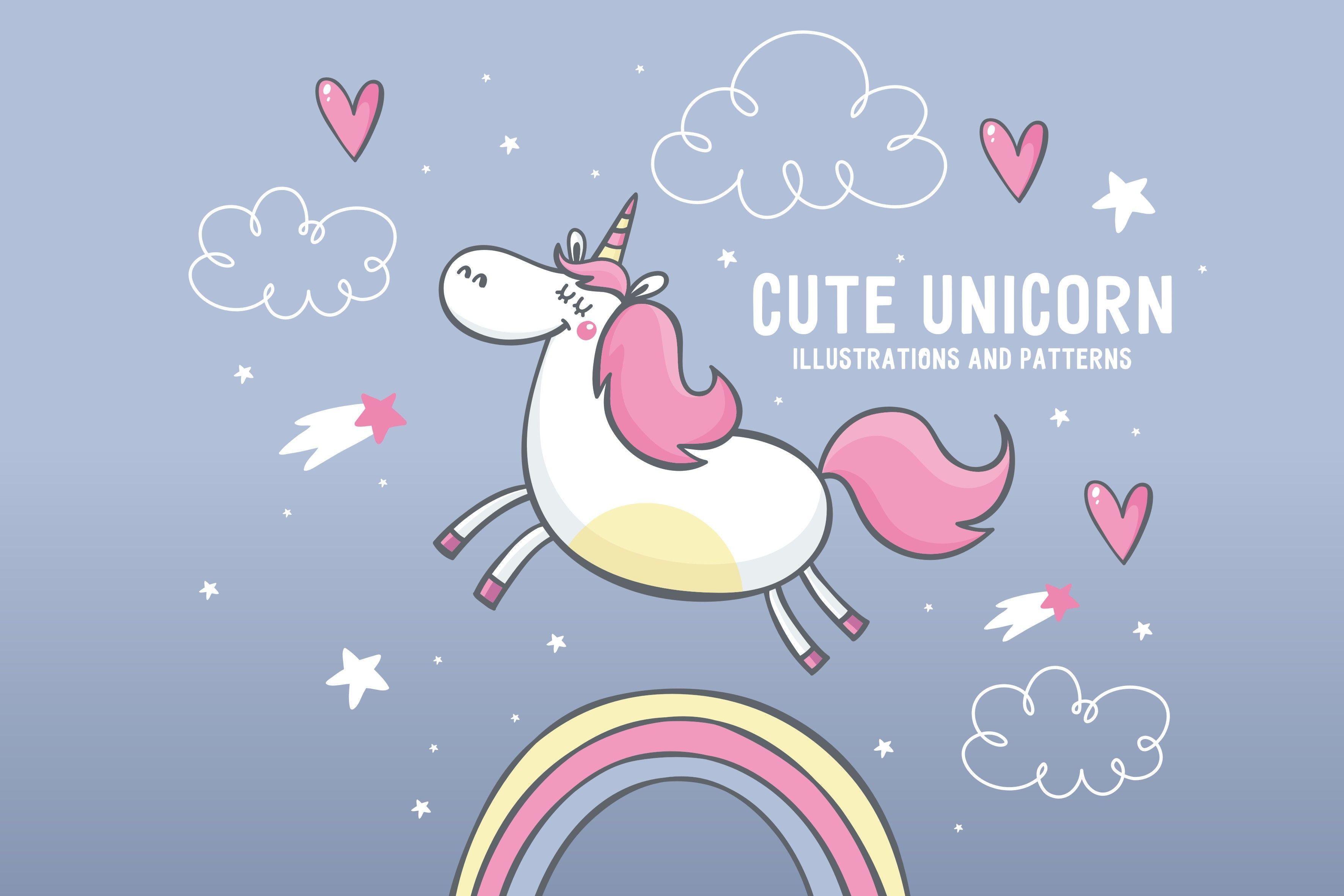 cute unicorn illustrations, pattern by Barkova Nadya on