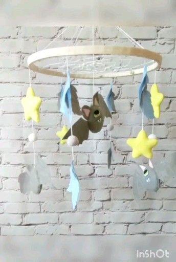 Owl & bat baby mobile, felt hanging crib mobile -   19 diy Dream Catcher nursery ideas
