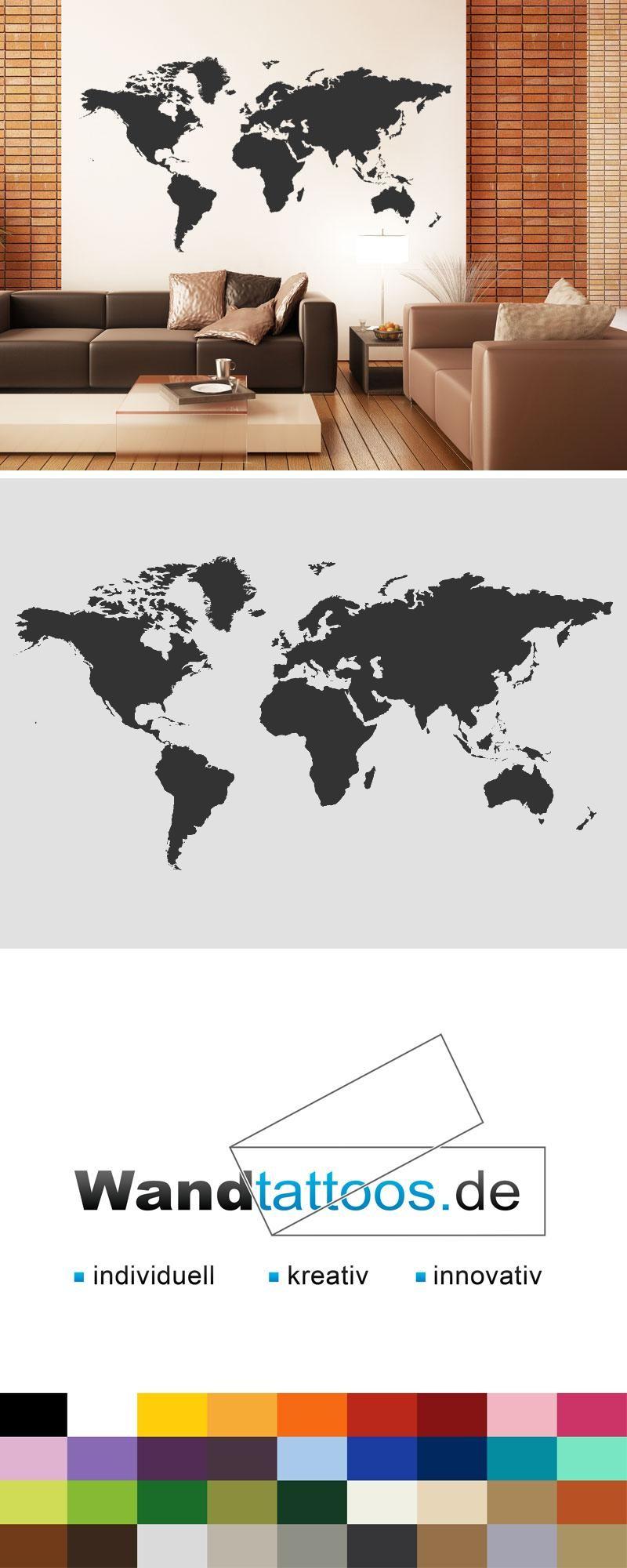 Bemerkenswert Wandtattoo Weltkarte Galerie Von - Wandtattoos.de